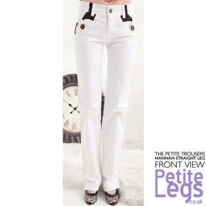 Hannah Relaxed Straight Leg Trousers with Plum Purple Detail in White | UK Size 6-8 | Petite Inseam 27.5