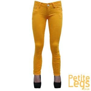 Hayley Crinkle Skinny Jeans in Block Yellow   UK Size 10   Petite Leg Inseam Select: 24 - 30 inches