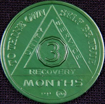 3 Month Sobriety chip Aluminium Green
