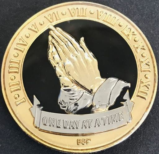 Praying Hands, One Day At A Time. Black Tri Plate.