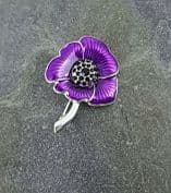 Purple Poppy Brooch (Enamelled)