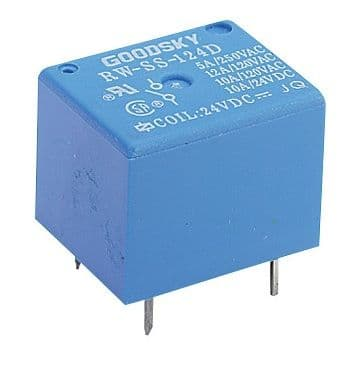 Miniature PCB SPDT Power Relay 24VDC Coil 6A Pack of 1