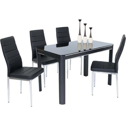 Morano Black Dining Table & 4 Chairs