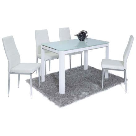 Morano White Dining Table & 4 Chairs
