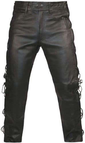Lace Sided Leather Trousers| Motorcycle Leather Trousers| Biker Jeans