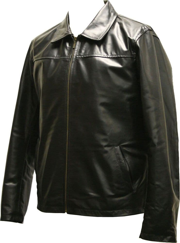 Men's Classic Leather Harrington Style  Jacket - M044 (1)