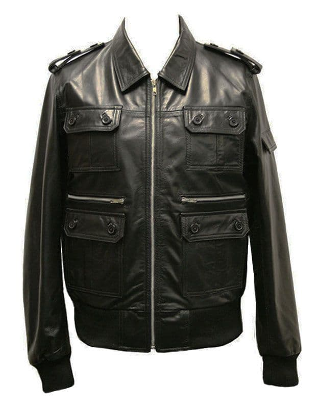 Men's Leather Bomber  Jacket - M945