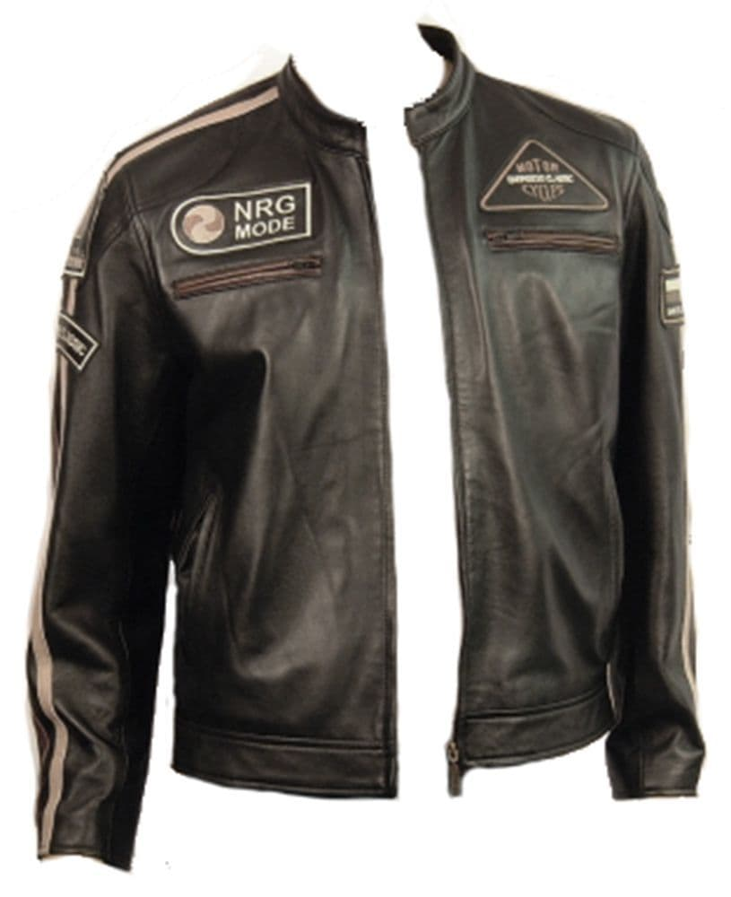 Men's Leather Cafe Racer Style Fashion Jacket - M10226