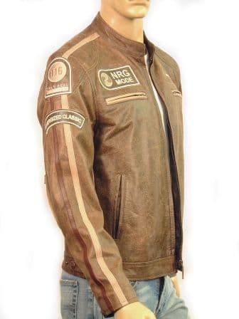Men's Leather Cafe Racer Style Fashion Jacket - M10226 Antique
