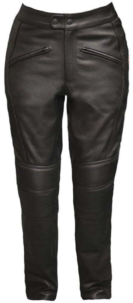 Monza - Women's Black Leather Armoured Motorcycle Trousers