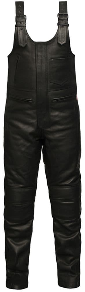 Salopettes - Men's Black Leather Armoured Bib 'n' Brace Motorcycle Trousers