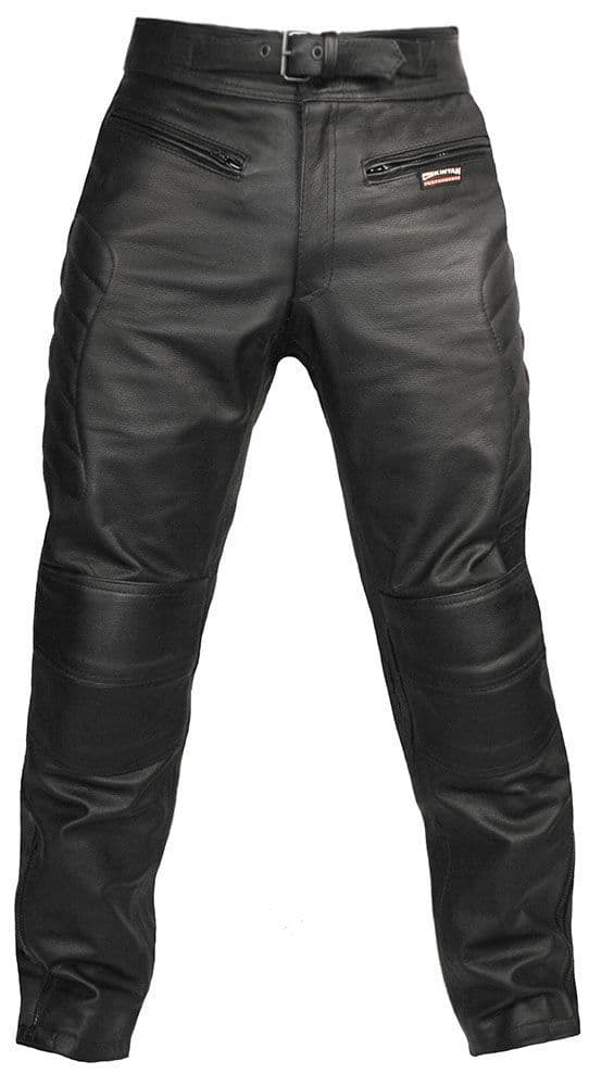 Spa - Men's Black Leather Armoured Motorcycle Trousers
