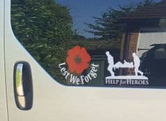 2 Stickers - Lest We Forget - Help For Heroes Set