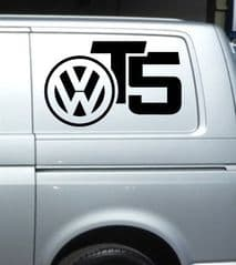 2 x T5 VW Logo Decal Stickers - Choice Of Colour