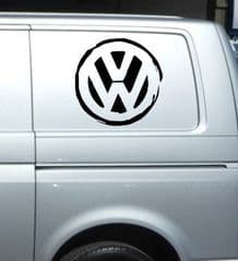 2 x VW Distressed Logo  Sticker - Choice Of Colour