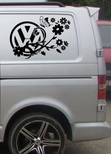2 x VW Logo With Butterfly & Flowers Stickers - Choice Of Colour