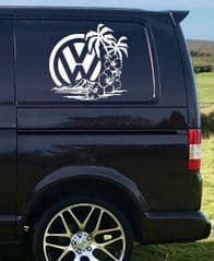 2 x VW Logo With Hibiscus Sticker - Choice Of Colour
