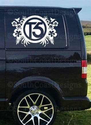 2 x VW T4 T5 T6 Floral Design Decal Stickers - Choice Of Colour