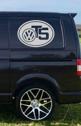 2 x VW T5 Logo Stickers - Choice Of Colour