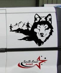 2 x Wolf And Mountains Decals - Van