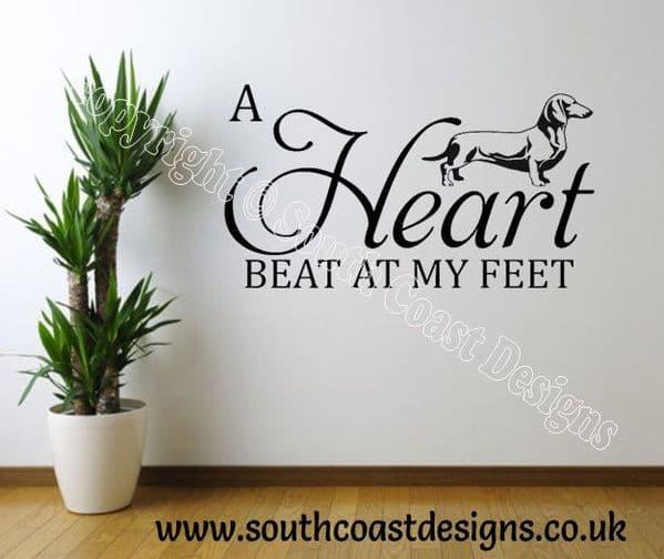 A Heart Beat At My Feet - Dachshund - Wall Sticker