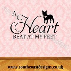 A Heart Beat At My Feet - French Bulldog Wall Sticker - Frenchie