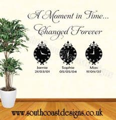 A Moment In Time Changed Forever (Option To Buy Extra Clocks etc) Wall Sticker