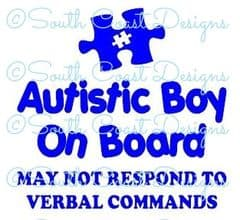 Autistic Boy On Board - May Not Respond -  Choice Of Colour For Jigsaw Piece & Writing
