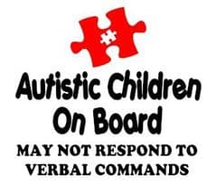 Autistic Children On Board - May Not Respond -  Choice Of Colour For Jigsaw Piece & Writing