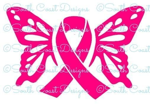 Butterfly Awareness Sticker With Ribbon - Choice Of Colour