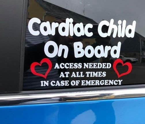 Cardiac Child On Board  -  Choice Of Colour For Hearts & Writing