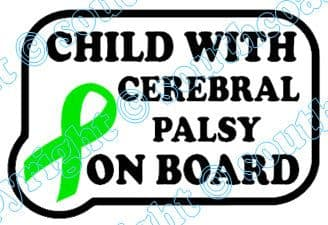Child With Cerebral Palsy On Board  - Green Ribbon