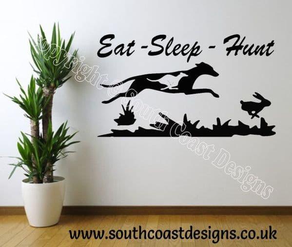 Eat Sleep Hunt Wall Sticker - Greyhound - Lurcher - Whippet