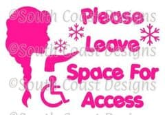 ELSA - Please Leave Space For Access With Wheelchair Logo - Frozen