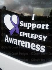 I Support Epilepsy Awareness -  Choice Of Colour For Writing & Ribbon