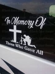 In Memory Of Those Who Gave All - Patriotic Memorial Sticker Decal