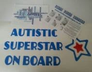 Autistic Superstar On Board - Choice Of Colour For Star Middle & Writing
