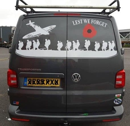 LARGE  PLANE - Rear Door - Lest We Forget - Transporter VW T2 T 3 T4 T5 T6  (MADE FOR ANY MODEL)