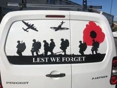 Lest We Forget - PEUGEOT PARTNER  Back Door Sticker (Any Year)