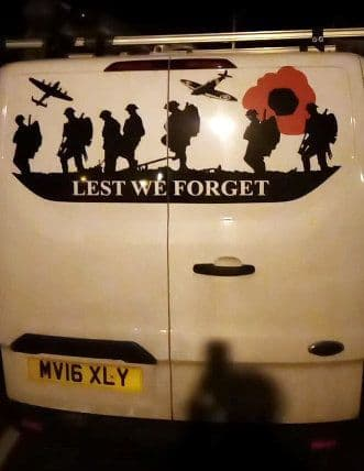 Lest We Forget - Transit Custom Back Door Sticker (Any Year)