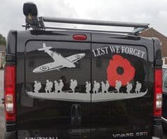Lest We Forget With Large Plane - TVP Back Door Sticker Vivaro Trafic Primstar - All Years
