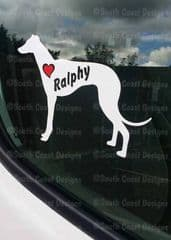 Lurcher Greyhound Whippet Sticker With Name & Heart - Can Be Stuck Anywhere
