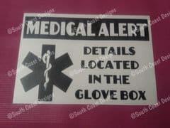Medical Alert Car Sticker - Details Located In The Glove Box