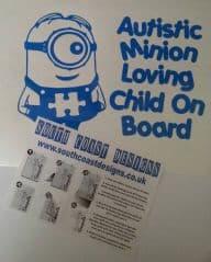 Minion Sticker And Jigsaw - Autistic Minion Loving Child On Board
