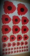 Mixed Size Poppies - Lest We Forget