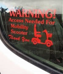 Mobility Scooter Access Warning Sticker