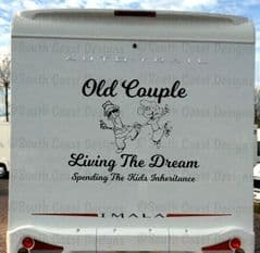 Old Couple Living The Dream - Camper Sticker (2 Sizes Available)