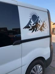 Pair Of Mountains With Sun  Camper Graphics