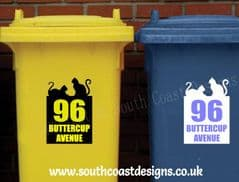 Personalised Cat Lover Bin Stickers With House Number & Road Name