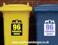 Personalised Lurcher Lover Bin Stickers With House Number & Road Name
